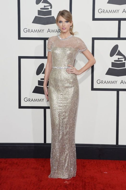 Taylor Swift Grammy Awards Style 2014 Style Chi Short Sleeve Silver Gold Metallic Gown