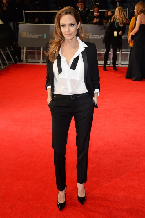 Angelina Jolie Best Dressed BAFTA 2014 StyleChi Black Suit