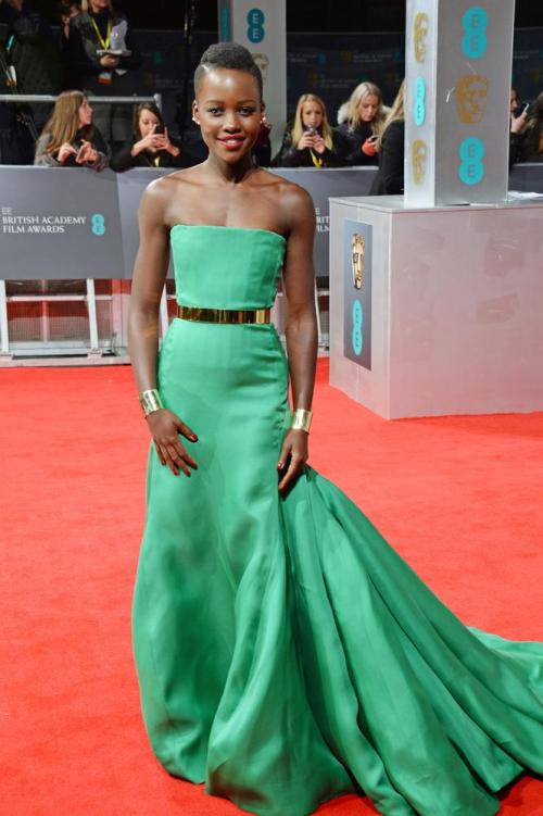Lupita Nyong'O Best Dressed BAFTA 2014 StyleChi Green Strapless Bustier Dress Gold Belt
