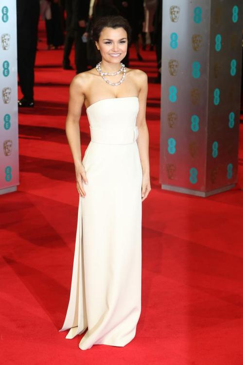 Samantha Barks Best Dressed BAFTA 2014 StyleChi Cream Strapless Bustier Dress