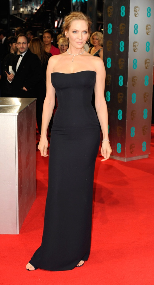 Uma Thurman Best Dressed BAFTA 2014 StyleChi Black Strapless Bustier Bodycon Dress