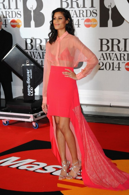 Brit Awards 2014 Best Looks StyleChi Aluna Francis Sheer Pink Shirt Bralette Hi Lo Skirt Silver Strappy Heels