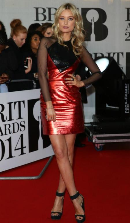 Brit Awards 2014 Best Looks StyleChi Laura Whitmore Red Black Metallic Sheer Panel Dress