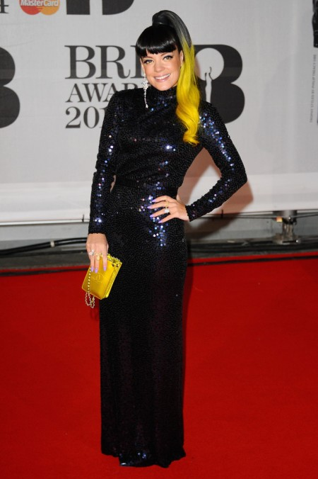 Brit Awards 2014 Best Looks StyleChi Lily Allen Black Long Sleeve Sequin Dress Yellow End Hair Clutch