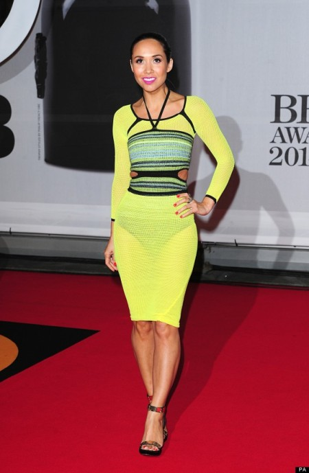 brit-awards-2014-best-looks-stylechi-myleene-klass-yellow-knitted-long-sleeve-midi-dress