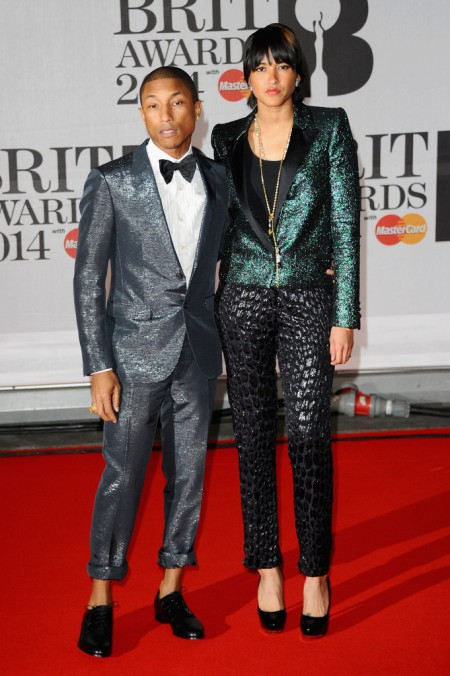 Brit Awards 2014 Best Looks StyleChi Pharell Williams Helen Lasichanh Glitter Sequin Suit