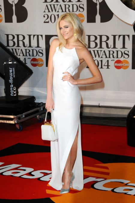 Brit Awards 2014 Best Looks StyleChi Pixie Lott DKNY White Split Dress Silver Pointed Toe Heels
