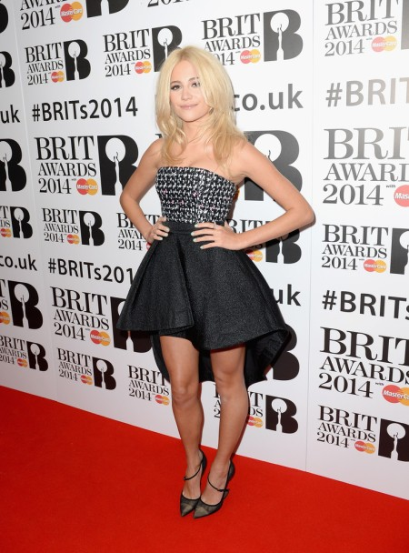 Brit Awards 2014 Best Looks StyleChi Pixie Lott Hi Lo Mini Bustier Monochrome Dress