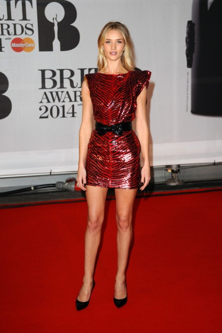 Brit Awards 2014 Best Looks StyleChi Red Zebra Sequin Mini Dress Bow Belt Pointed Heels
