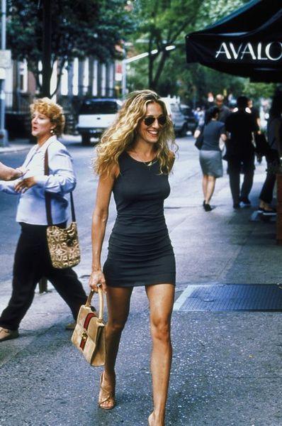 Carrie Bradshaw SATC SJP Best Looks StyleChi Grey Jersey Sleeveless Bodycon Minidress Heels Satchel Handbag Aviator Sunglasses