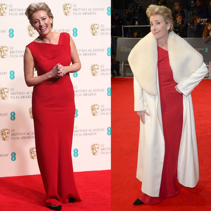 Best Dressed Emma Thompson BAFTA 2014 StyleChi Red Dress White Cruella Coat
