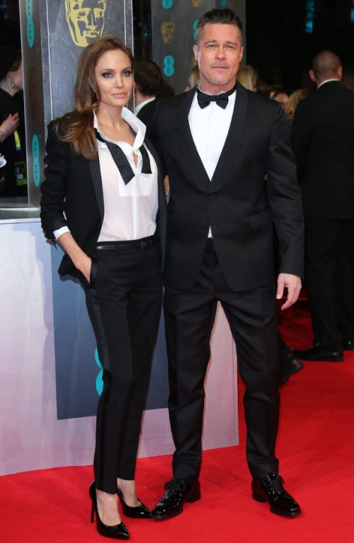 Angelina Jolie Best Dressed BAFTA 2014 StyleChi Black Suit Brad Pitt