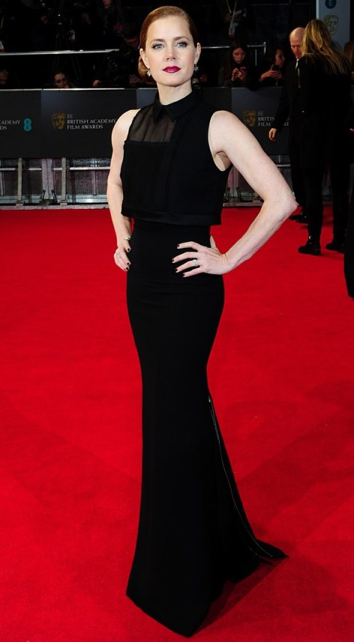 Amy Adams Best Dressed BAFTA 2014 StyleChi Black Sleeveless Shirt Top Victoria Beckham Dress