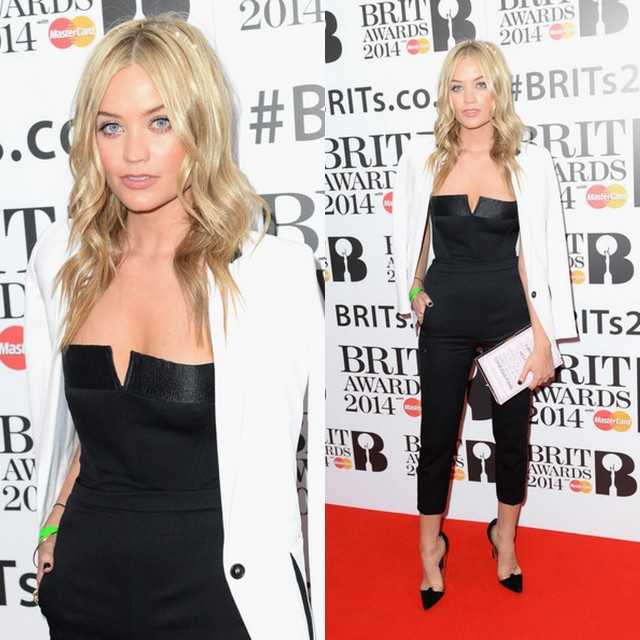 Music Brit Awards 2014 Best Looks StyleChi Black Playsuit Pointed Heels White Blazer Thrown Over Shoulders