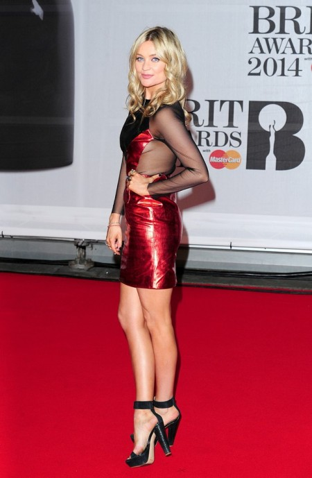 Music Brit Awards 2014 Best Looks StyleChi Laura Whitmore Red Black Metallic Sheer Panel Dress