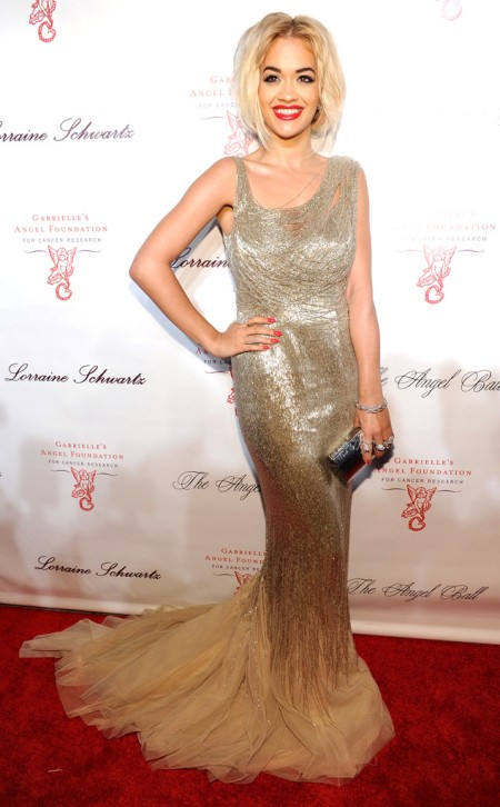 Rita Ora 2013 StyleChi The Angel Ball Gold Beaded Dress