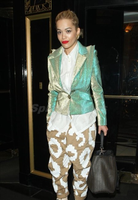 rita-ora-mint-green-glittery-blazer-white-shirt-beige-patterned-trousers-gold-earrings