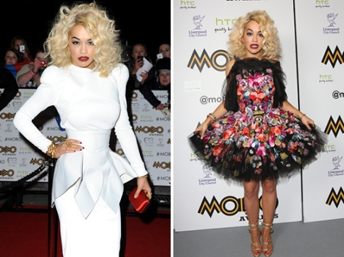 Rita Ora StyleChi 2012 MOBO White Long Sleeve Peplum Dress Alexander McQueen Dress