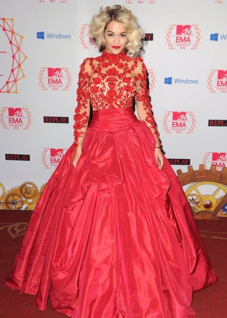 Rita Ora StyleChi 2012 MTV EMA High Neck Sheer Top 3D Floral Embellishment Satin Puff Out Red Dress