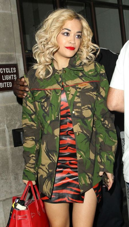 Rita Ora StyleChi Army Jacket Red Black Animal Print PVC Dress