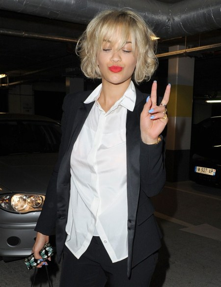 Rita Ora StyleChi Black Suit White Shirt Light Blue Nails Short Hair