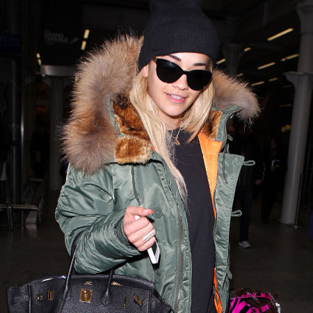 Rita Ora StyleChi Casual Airport Street Style Black Beanie Sunglasses Fur Hood Khaki Orange Parka