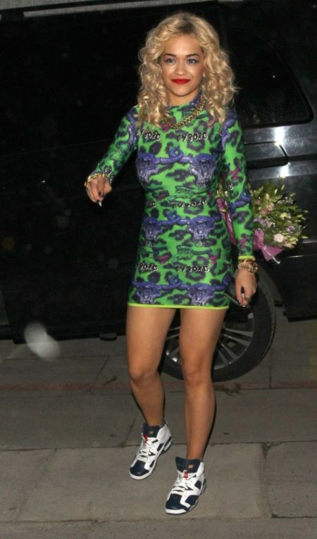 Rita Ora StyleChi Casual Outfit Long Sleeve Bodycon Dress Green Leopard Print Purple Bull Heads Trainers