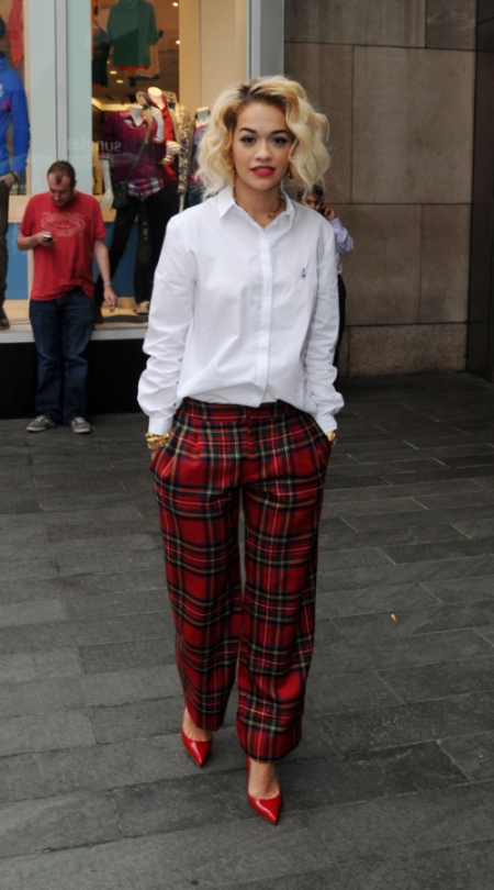 Rita Ora StyleChi Chic Outfit Tartan Wide Legged Trousers Red Patent Pointed Heels White Cotton Shirt