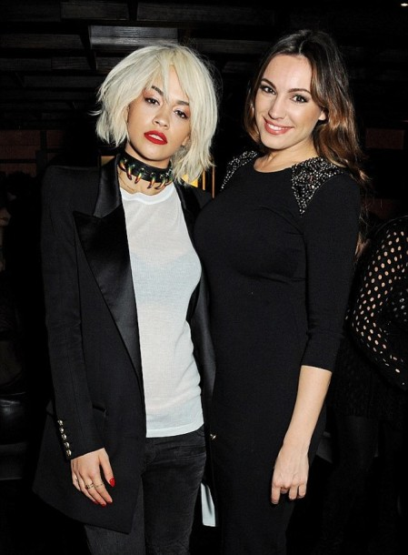 Rita Ora StyleChi Kelly Brooke Long Black Boyfriend Blazer Satin Collar Thick Leather Chocker Necklace White T-Shirt Faded Black Jeans Short Punk Hair