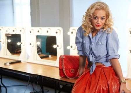 Rita Ora StyleChi Knotted Denim Shirt High Waist Red Leather Skirt Chanel Bag