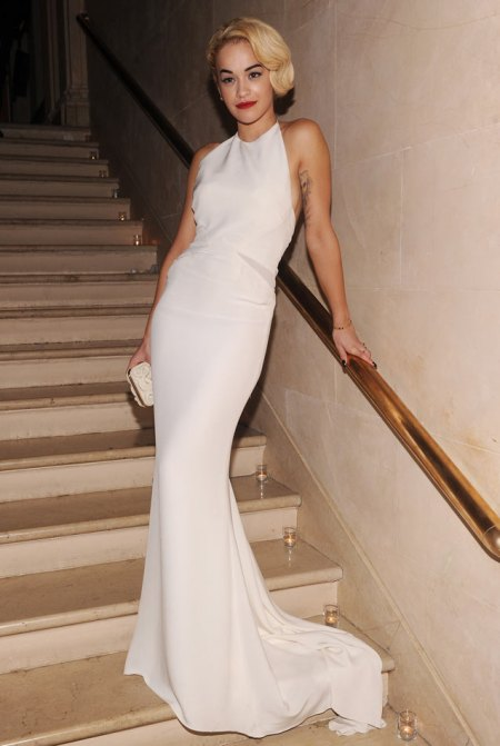 Rita Ora StyleChi Old Hollywood Red Carpet Style White Backless Halterneck Gown