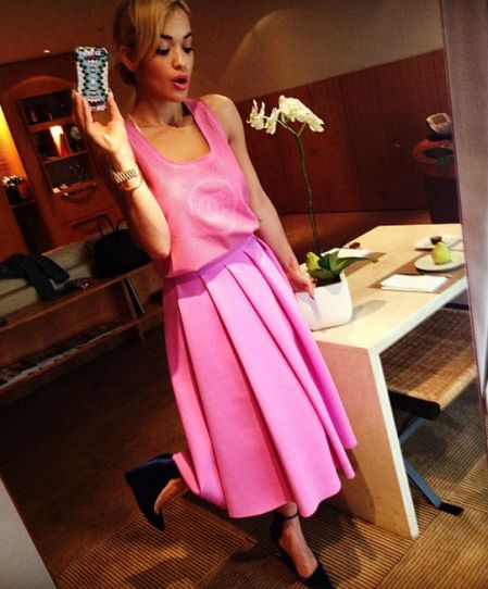 Rita Ora StyleChi Pink Chanel Loose Sleeveless Top High Waist Midi Skirt Blue Satin Wedges