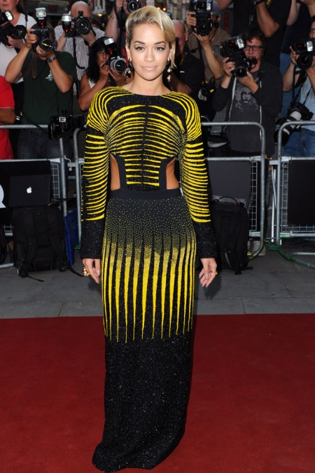 Rita Ora StyleChi Red Carpet Black Yellow Long Sleeve Patterned Cut Out Dress