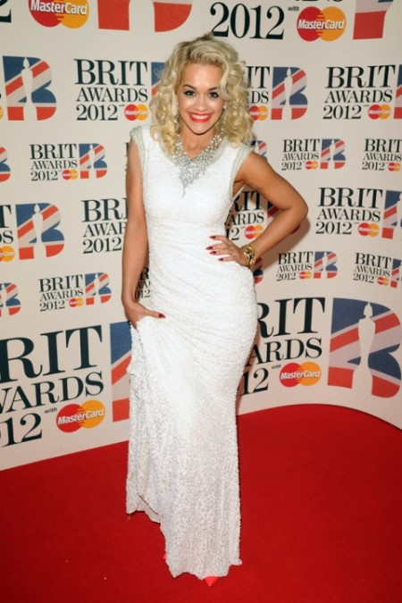 Rita Ora StyleChi Red Carpet Style Brit Awards 2012 White Dress
