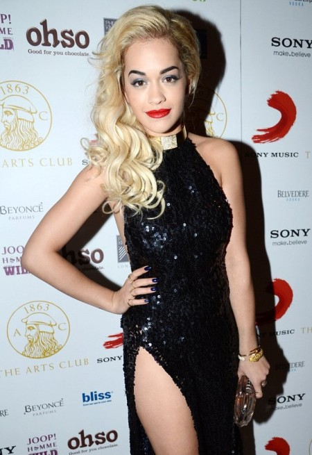 Rita Ora StyleChi Red Carpet Style High Halter Neck Backless Split Black Sequin Dress Gold Neck