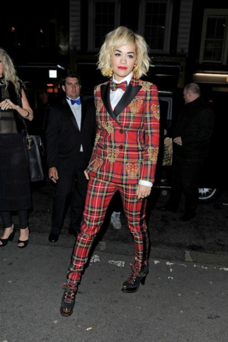 Rita Ora StyleChi Red Tartan Plaid Suit Gold Crown Overlay Pattern Bowtie