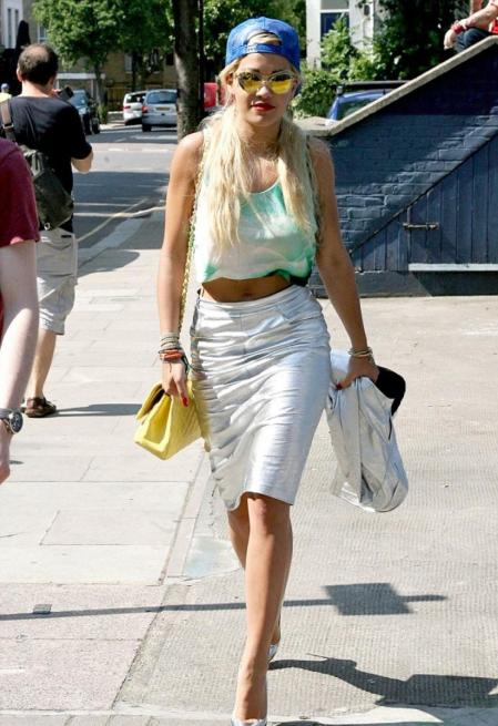 Rita Ora StyleChi Reverse Blue Cap Green Crop Top Silver High Waist Pencil Skirt Pointed Heels Light Yellow Chanel Chain Bag