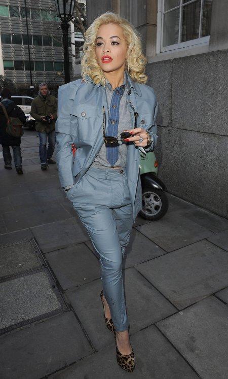 Rita Ora StyleChi Street Style Blue Suit Ensemble Leopard Print Heels