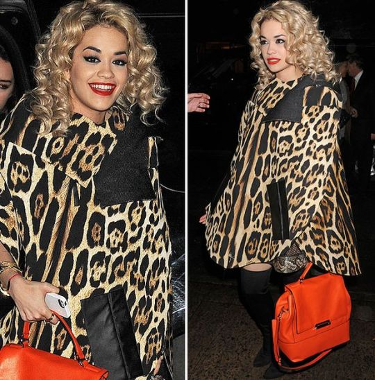 Rita Ora StyleChi Street Style Leopard Print Cape Coat Red Bag Black Over The Knee Boots