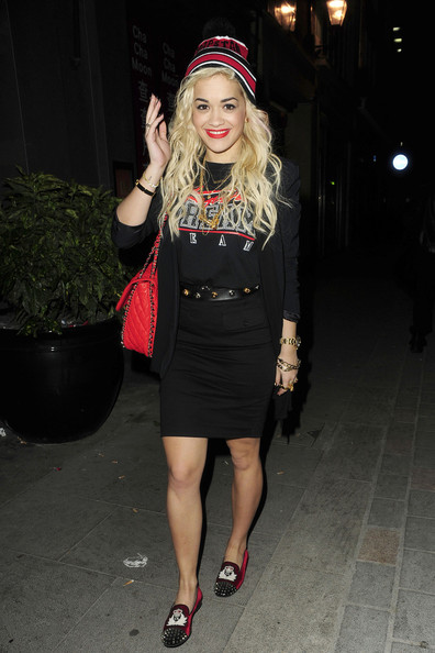 Rita-Ora-StyleChi-Trapstar-bobble-beanie-hat-Trapstar-London-black-and-red-dream-team-t-shirt-Christian-Louboutin-Intern-Flat-red-velvet-crest-spike-loafers-leaving-Cirque-Du-Soir-nightclub-Casual-Outfit
