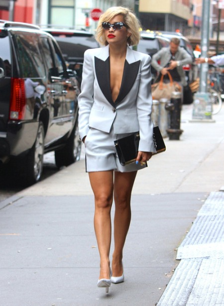 Rita Ora StyleChi White Grey Black Short Suit Deep V-Neck Retro Sunglases Oversize Clutch