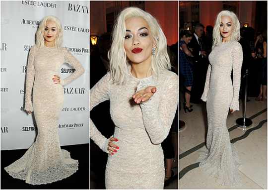 Rita Ora StyleChi White Long Sleeve Lace Gown Hair Dark Red Lips