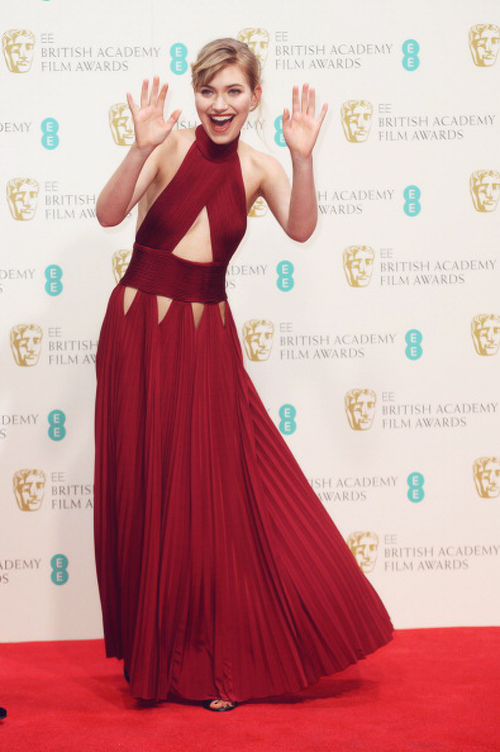 Imogen Poots Best Dressed BAFTA 2014 StyleChi Red Pleated High Neck dress