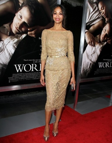 Zoe Saldana StyleChi Best Looks 2012 Red Carpet Gold Mid Sleeve Midi Sheer Panel Embellished Dress