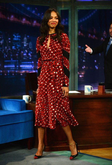Zoe Saldana StyleChi Best Looks 2013 Jimmy Fallon Show Diane Von Furstenberg Red Black White Printed Long Sleeve Dress Pointed Heels Ankle Bracelet