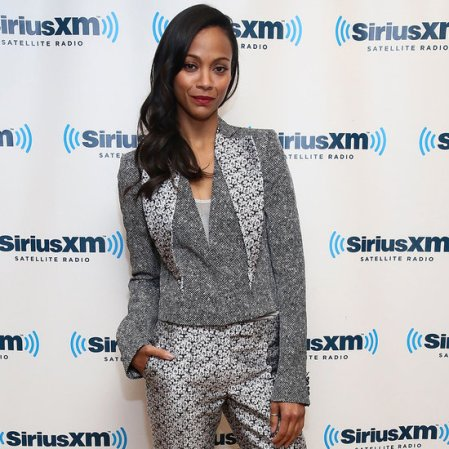 Zoe Saldana StyleChi Best Looks 2013 Star Trek Grey Patterned Suit
