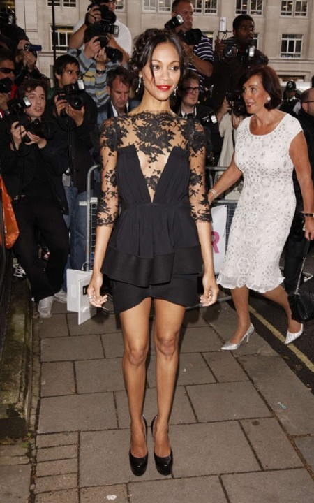 Zoe Saldana StyleChi Best Looks Black Lace Top Peplum Dress