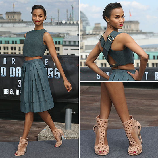 Zoe Saldana StyleChi Best Looks Blue Grey Crop Top High Waisted Puff Out Skirt Nude Laser Cut Out Heels