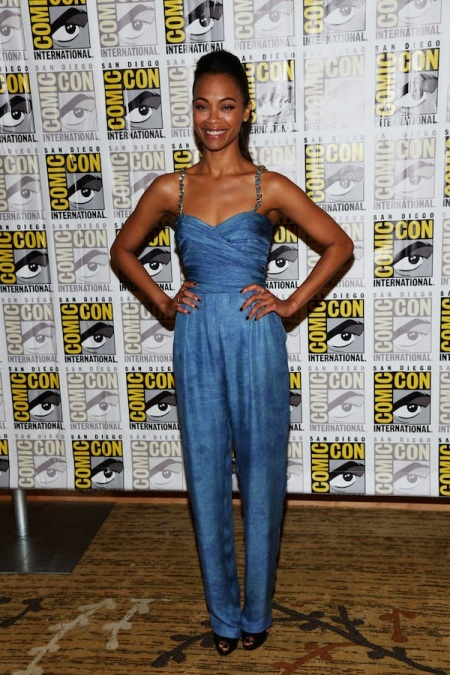Zoe Saldana StyleChi Best Looks Blue Playsuit