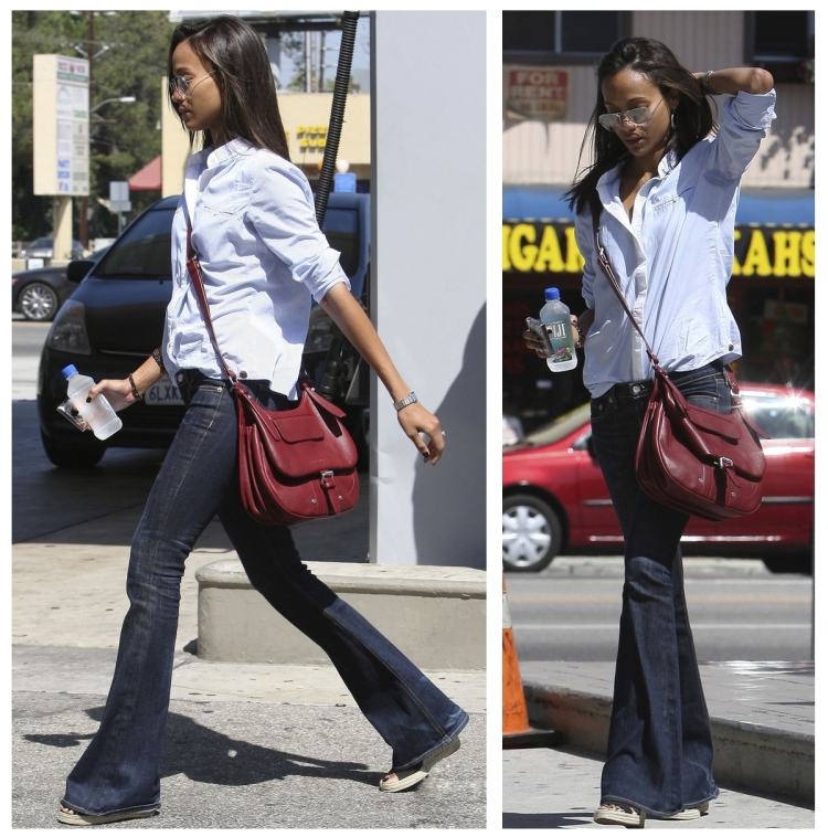Zoe Saldana StyleChi Best Looks Boyfriend Oversize Blue Shirt White Trim Dark Flared Jeans Burgundy Satchel Sunglasses